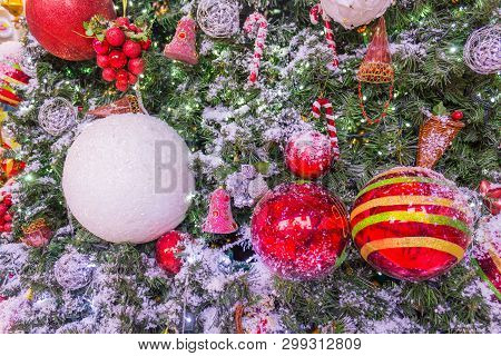 Art Christmas Greeting Card With Red Balls
