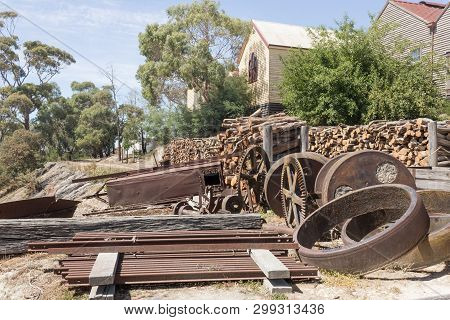 Old Parts Of Locomotive In The Sovereign Hill