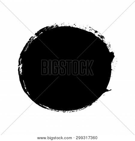 Brush Stroke Isolated White Background. Circle Black Paint Brush. Grunge Texture Round Stroke. Art I