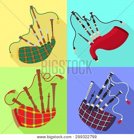 Bagpipes Icons Set. Flat Set Of Bagpipes Icons For Web Design