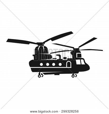 Chinook Helicopter Icon. Simple Illustration Of Chinook Helicopter Icon For Web Design Isolated On W