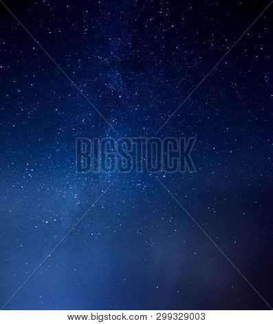 Starry Sky Universe Background Galaxy Of Milky Way, Blue Space Background With Stars, Cosmos