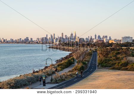 Melbourne, Australia - March 2, 2019: View Of The Melbourne Skyline From Point Ormond In The Inner E