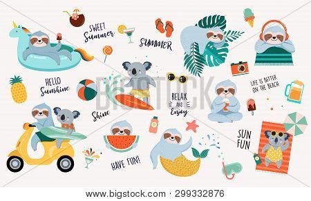 Summer Fun Illustration With Cute Characters Of Koalas And Sloths, Having Fun. Pool, Sea And Beach S