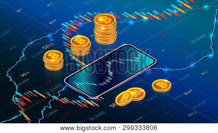 poster of Cryptocurrency stock exchange or investment concept with mobile app. Digital money market. Forex trading chart on abstract background with cryptocurrency. Bitcoin exchange. Vector Illustration