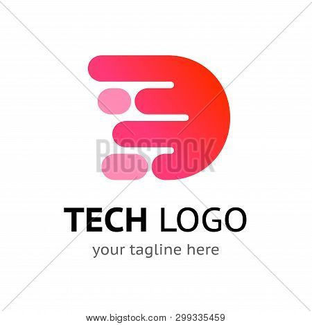 Stylized Initial Letter D - Digital Logo Template With Sample Company Name And Tagline. Simple Vecto