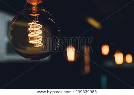 Retro Light Bulbs Hanging In Department Store, With Decorate Interior Luxury, Fixtures Combine Beaut