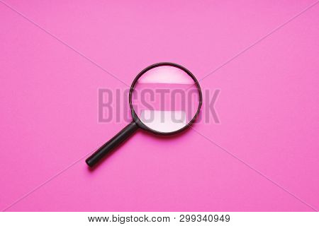 Magnifying Glass Magnifier Loupe Search Symbol On Pink Background With Copy Space
