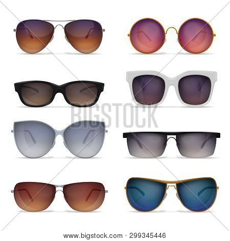 Set Of Eight Isolated Sunglasses Realistic Images With Sun Goggles Models Of Different Shape And Col