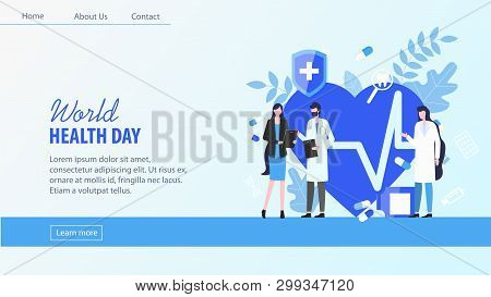 World Health Day Woman Patient With Man Doctor Female Nurse Consultation Vector Illustration. Cardia