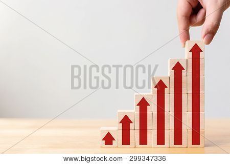 Ladder Career Path For Business Growth Success Process Concept.hand Arranging Wood Block Stacking As