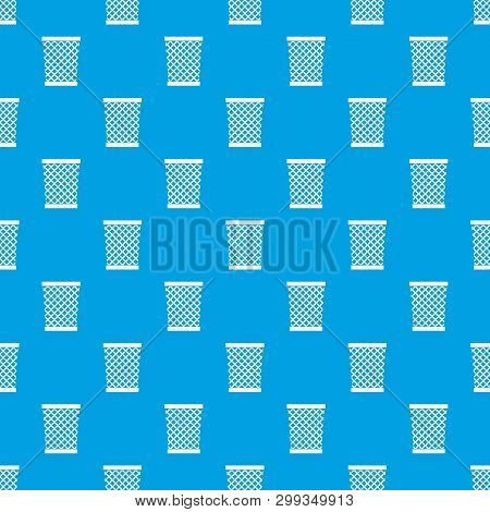 Wastepaper Basket Pattern Repeat Seamless In Blue Color For Any Design. Geometric Illustration