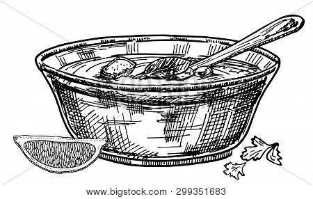Vector Hand Drawn Restaurant Stuff Illustration. Detailed Retro Style Soup Image. Vintage Sketch Ele