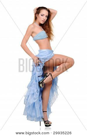 Beautiful Young Woman Dancing In Blue Dress