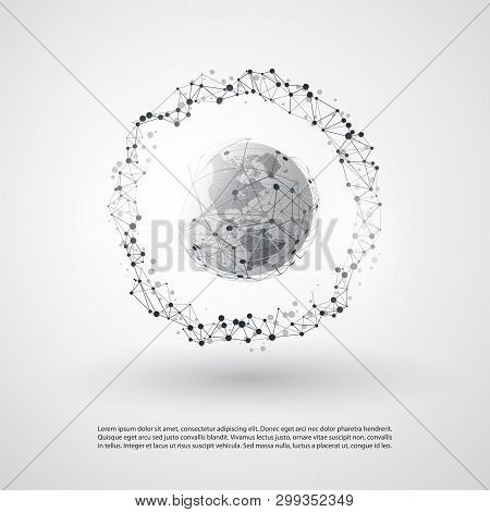 Modern Minimal Style Cloud Computing, Networks Structure, Telecommunications Concept Design, Network