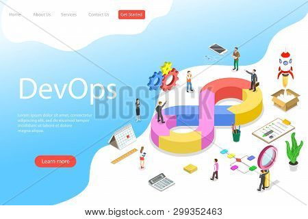Isometric Flat Vector Landing Page Template Of Devops.