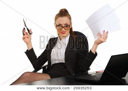 Young Business Woman Sitting In Office Chair