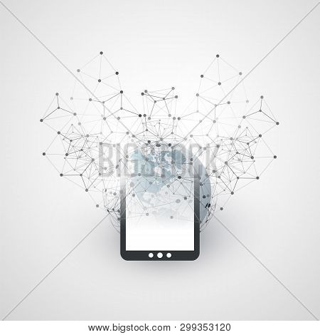 Abstract Cloud Computing And Global Network Connections Concept Design With Earth Globe, Digital Tab