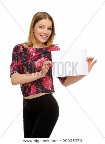 Young Happy Smile Woman With White Cardboard In The Hands Of