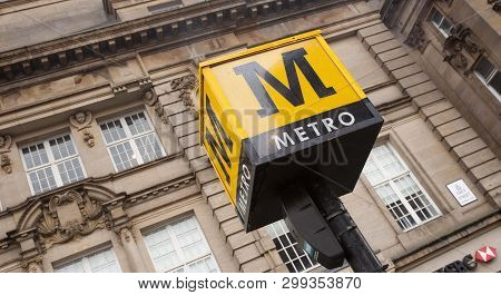 A Sign For The Tyne And Wear Metro Rapid Transport System - Newcastle Upon Tyne, England, Uk - 6th N