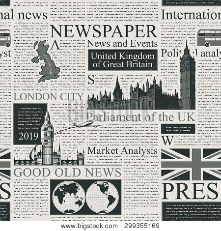 Vector Seamless Pattern With Uk Or London Newspaper. Page Of Old Newspaper Or Magazine With Headings