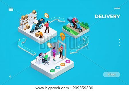 Delivery Or Logistic Isometric Banner Or Sign For Business Company. Stages Of Online Shop Order - In