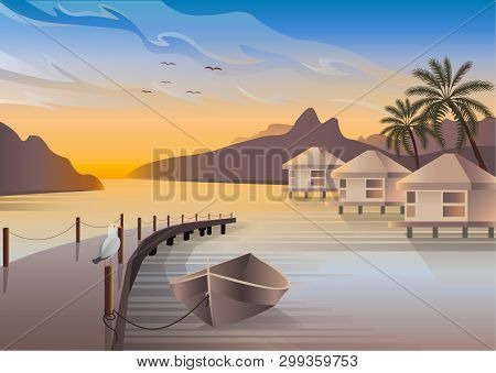 Bungalows Are Located On An Ocean Coast Of A Tropical Island. A Seagull Is Sitting On A Pier. A Boat