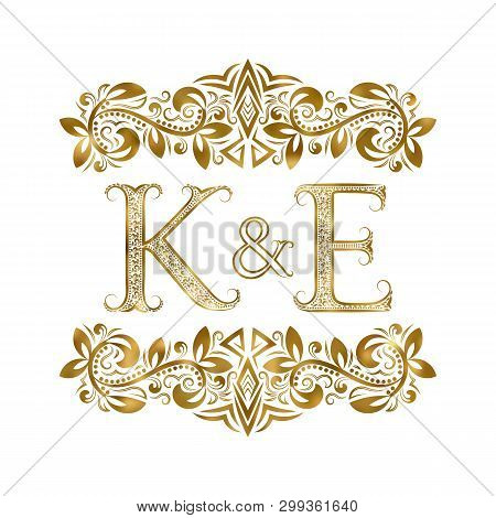 K And E Vintage Initials Logo Symbol. The Letters Are Surrounded By Ornamental Elements. Wedding Or