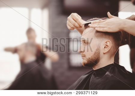 Barbershop Banner. Man In Barber Chair, Hairdresser Styling His Hair