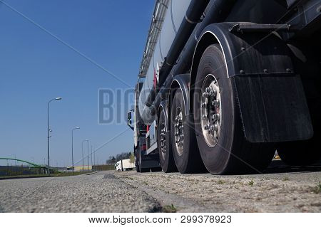 View From The Road Level. A Powerful Truck-tanker.