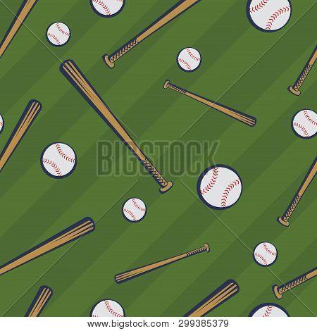 Color Baseball Seamless Pattern With Baseball Bats And Baseball Balls On Green Field Background. Vec