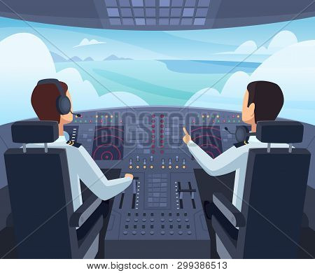Airplane Cockpit. Pilots Sitting Front Of Dashboard Aircraft Inside Vector Cartoon Illustrations. Ca