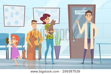 Professional Veterinarian. Pets With Their Owners In Reception At The Vet Clinic Vector Background.