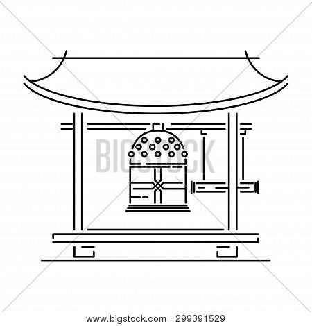 Japan landmark - temple, shrine, castle, pagoda, gate vector illustration simplified travel icon. Chinese, asian landscape traditional house. Line sketch. Realistic element for design, fabric print. poster