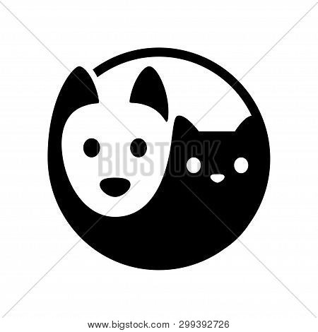 Cat And Dog Yin Yang Symbol. Simple, Minimal Cartoon White Dog And Black Cat Face. Isolated Vector I