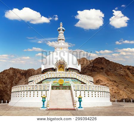 View Of Tall Shanti Stupa With Beautiful Sky, The Big Stupa In Leh And One Fron The Best Buddhist St