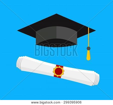 Graduation Cap And Diploma Icon, Vector Stock Illustration In Flat Style