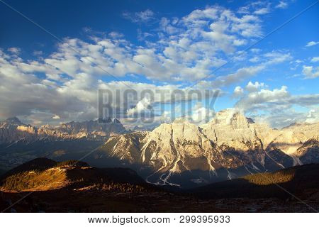 Evening View Of Gruppo Del Sorapis With Beautiful Cloudy Sky, South Tirol, Alps Dolomites Mountains,