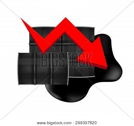 Crude Oil Barrels With Falling Graph Symbol Red Arrow Isolated On White Background, Black Metal Barr