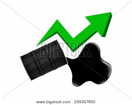 Crude Oil Barrels With Pointing Up Graph Symbol Green Arrow Isolated On White Background, Black Meta
