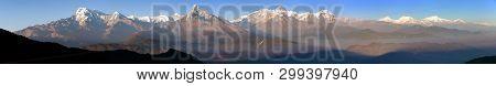 Evening Sunset Panoramic View Of Mount Annapurna Himal And Mt Manaslu, Nepal Himalayas Mountains