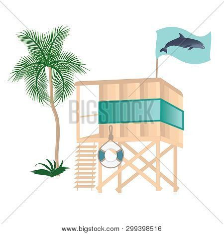 The Lifeguard Tower On The Water - A Palm Tree, A Flag With A Dolphin, A Life Preserver - Isolated O