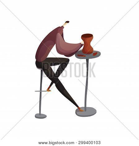 Man Sculpts A Clay Jug. Vector Illustration.