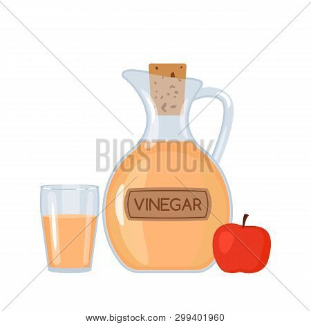 Apple Vinegar In A Bottle And A Glass With An Apple. A Flat Vector Illustration Isolated On A White