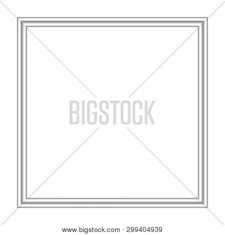 Silver Frame Square Isolated On White Background And Copy Space, Blank Stainless Framework For Banne