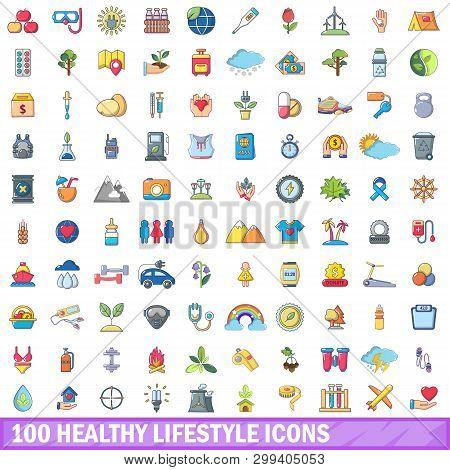 100 Healthy Lifestyle Icons Set. Cartoon Illustration Of 100 Healthy Lifestyle Icons Isolated On Whi