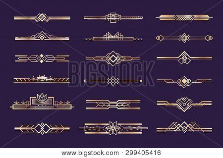 Art Deco Set. Vintage 1920s Golden Ornament, Nouveau Style Headers And Dividers, Retro Border Elemen