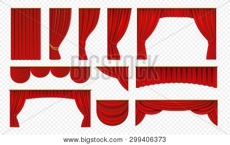 Realistic Red Curtains. Theater Stage Drapery, Luxury Wedding Cover Decoration, Theatrical Borders.