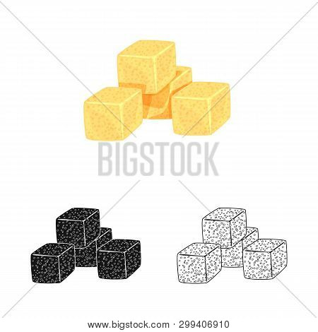 Vector Design Of Croutons  And Bread Symbol. Collection Of Croutons  And Bowl  Stock Symbol For Web.