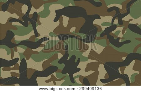 Camouflage Pattern Background. Classic Clothing Style Masking Camo Repeat Print. Green Brown Black O